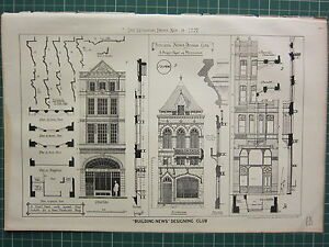 1877 DATED ARCHITECTURAL PRINT ~ STREET FRONT PLAN MEZZANINE ELEVATION SHOPS