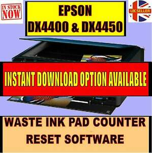 EPSON DX4400 DX4450 WASTE INK PAD COUNTER END OF LIFE ERROR ENGINEERS RESET CD