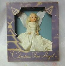 Vintage NOMA Christmas Tree Topper Top Ceramic Halo Angel Silver Wings Box
