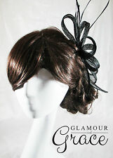 Poppy black sinamay fascinator races Melbourne Cup carnival wedding hatinator