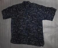 Oleg Cassini Dress Shirt Silk Short Sleeve Geometric Print Totem Pole Mens L