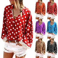 Plus Size Womens Ladies Casual Baggy Tops Blouse Long Sleeve Polka Dot T-Shirt