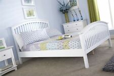 Madrid 3ft Single High Foot End Wooden Bedstead - Solid White