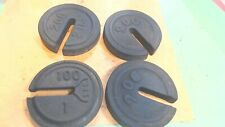 "Vintage-SCALE Weights - 4- Platform Cast Iron with Slot-Stackable-4"" diam."