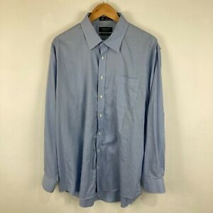 Nordstrom Mens Button Up Shirt Size 17.5 2XL Blue Long Sleeve Collared