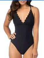 La Blanca Petal Pusher One Piece Swimsuit $129 Size 10 Black LB8KM26 New With
