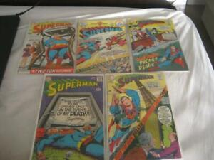 Lot of 5 Vintage 1960's and 1970's DC Comics Superman Comic Books