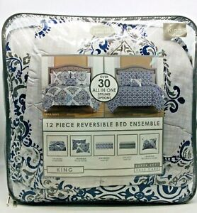 W-C Home Fashions-Zaria Grey & Zaria Plum All In zone 12 Piece Reversible Bed En