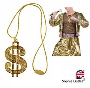 GOLD DOLLAR NECKLACE Medallion Chain Gangster Outfit Rapper Fancy Dress Costume