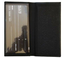 Unisex Black Fine Genuine Leather Plain Checkbook Cover Long Slim Wallet New