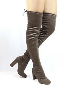 Liliana Kenzy-6 Thigh High Over The Knee Round Toe Chunky Heel Boots