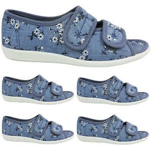 WIDE Womens Touch Strap Comfort Orthopaedic Summer Canvas Sandals Shoes Size