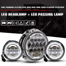 "For Yamaha V-Star XVS 650 950 1100 Classic Stryker 7"" Led Headlamp 4.5 Fog Lamp"