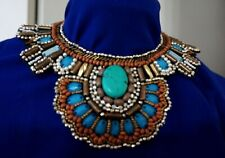 Boho Cleopatra style Faux Suede Beaded Turquoise Blue Gold Necklace SET N47-1/22