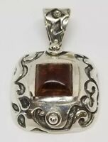 Silpada Designs Sterling Silver and Amber Square Filigree Pendant & Earrings