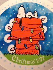1977, Vintage, Snoopy, Peanuts, Christmas, Plate, Schmid,
