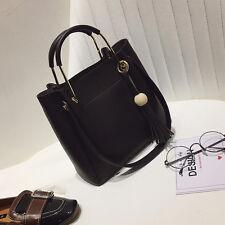 Composite Bag New Women's Shoulder Bag Tassel Handbags Fashion Bucket Bags Black
