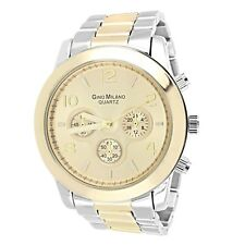 Wrist Watch For Men Silver & Gold Finish Two Tone Big Gold Face Casual Wear