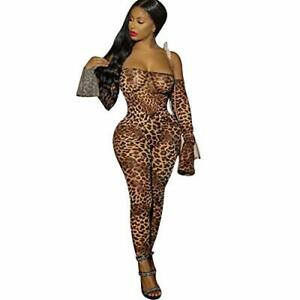 Sexy Woman Off The Shoulder Animal Leopard Snake Skin Print Mesh Jumpsuit Playsu