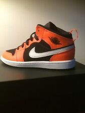 Nike Air Jordan 1 Retro Mid Youth Size 2.5Y Shoes Black Orange 640734-062