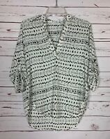 LUSH Boutique Women's XS Extra Small Ivory Black Boho Summer Blouse Shirt Top