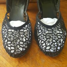 1940s Vintage Spiderweb Cobweb Mesh Shoes Size 9m