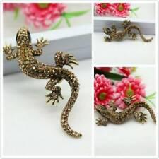 Women Vintage Rhinestone Sparkling Gecko Lizard Fastener Animal Brooch Pin Mp