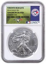 2016 1oz American Silver Eagle NGC GEM BU (MLB Toronto Blue Jays Label) SKU40270