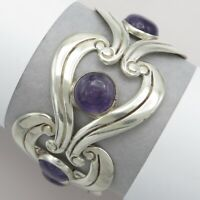 Vtg 1950s Signed Taxco Mexican Sterling Silver Mexico Amethyst Wide Bracelet