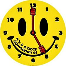 "5 O'Clock Somewhere Smiling Face 12"" Round Novelty Metal Signs Smiley Wall Decor"