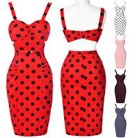 Women Vintage Retro Polka dot 50s 60s Pinup Wiggle Pencil Bodycon Evening Dress