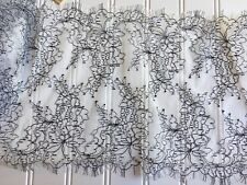"""3 Yards Grey Floral Embroidered Eyelash Mesh Lace Trim/ Sewing/Crafts/ 9"""" Wide"""