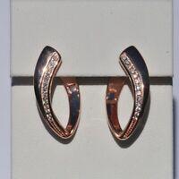 Echt 925 Sterling Silber Ohrringe Creolen Zirkonia crystal rosegold Nr 264