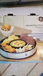 New GE Heated Party Platter worming dish appetizer stainless