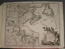 EASTERN CANADA GREAT LAKES 1755 ROBERT DE VAUGONDY ANTIQUE COPPER ENGRAVED MAP