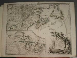 EASTERN CANADA GREAT LAKES 1755 ROBERT DE VAUGONDY ANTIQUE COPPER ENGRAVED MAP