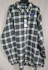 Izod Stratton Lightweight Flannel Shirt Asphalt 2XL Black Gray White Plaid