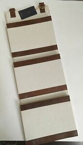 """NWT Tommy Bahama Canvas Leather 3 Wall Pocket Hanging Organizer 26"""" Long 9"""" Wide"""
