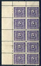 Weeda Canada J9 VF mint UL block of 10, glazed gum, 1930 Postage Due 5c. CV $250