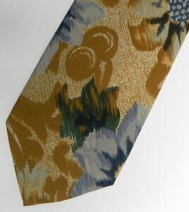 "Blue Brown Abstract Floral PAL ZILERI Silk Tie 3.8"" Wide 56"" Long"