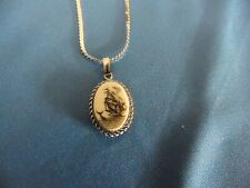 """New Sterling Silver Scrimshaw Carved Necklace, On A 20"""" Sterling Chain, Free S/H"""