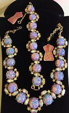 Vintage Schiaparelli Necklace & Bracelet Set~Fire Opal Art Glass/RS/Gold Tone
