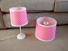 Girl's Pink Spotty Bedside Lamp and Lamp-Shade - Used