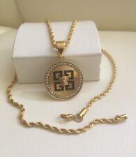 """22"""" Torsade Medusa Head Necklace & Pendant 18k Gold Filled"""