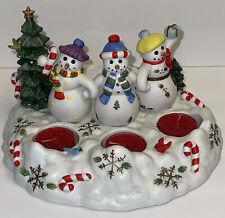 Partylite Snowbell Tealight & Pillar Candle Holder P7650 Snowman + 3 Candles