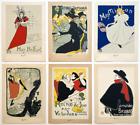 TOULOUSE LAUTREC RARE 1940'S SILKSCREEN PRINT FRENCH ART NOUVEAU POSTERS 6P SET