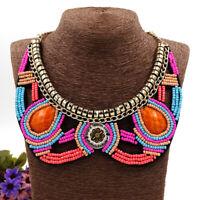 Bohemia Ethnic Tribal Choker African Women Bead Boho Pendant Statement Necklace