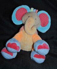 Peluche doudou éléphant orange bleu rouge NATTOU oasis palmier 30 cm TTBE