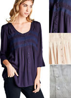 JODIFL Womens Chic Boho Smocked Bohemian Peasant 3/4 Sleeve Top Blouse S M L