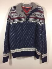 Tommy Hilfiger Sweater Mens Large Button Up Neck Pullover Cotton Long Sleeve
